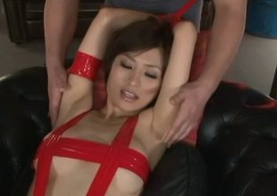Bondage loving Japanese MILF gets used by a group of fellows
