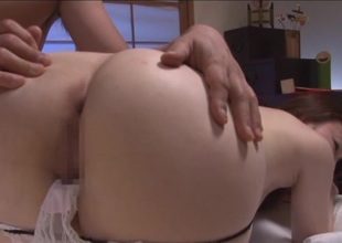 Japanese hottie with natural tits fingered then fucked missionary