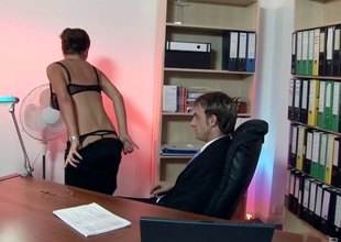 Big titted secretary satisfied her boss in a sexual harassment scene.