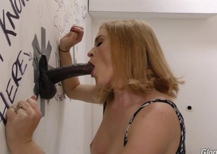 Kate blows the giant walled cock then rides on it roughly on tap her library.