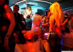 Adventurous European pornstars getting drilled at a sex party