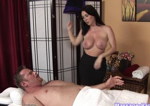 The guy gets a massage then busts a nut on her back