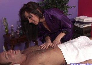 Sexy massage girl rubs and sucks a very luck customer