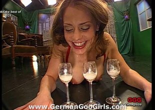 Extra kinky and pervy German bitch drinking cum out of glasses