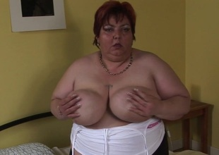 Large older sluts gets wicked and wild on her self