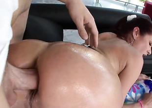 With large butt and shaved twat doing immodest things in anal action