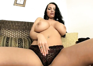 Laura Lion with huge hooters has a lot of sexual energy to spend and does it alone!