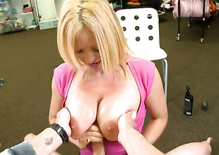 Light-complexioned Charlee Chase really likes pulsating pole fucking her desirous hands