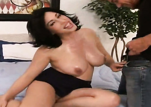 Vanessa James with round disreputable and bald bush polishes Justin Magnums pulsating pole with her chops