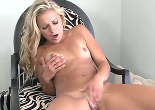 Lena Nicole with small breasts and hairless snatch is on the way to orgasm in solo scene
