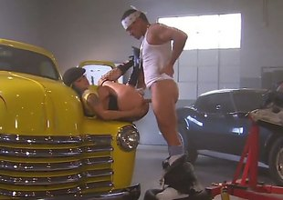When Nadia Styles crashes her car, she brings it to her mechanic. Because she has no money on her, she uses her body to pay for the services... by giving anal gangbang services herself.