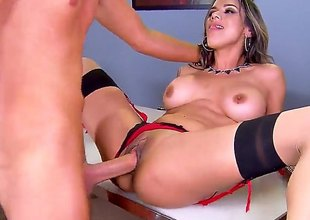 Nadia Styles, a youthful milf with sexy nylons and a pair of giant scoops meets her boss at the office. This guy widens her legs wide and stuffs her vagina with cum
