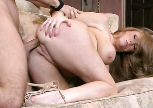 Darla Crane with giant breasts turns Keiran Lee on to the point of no return before butt fucking