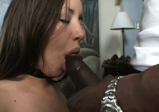 Busty white chick seduces a well hung black stud into boning her