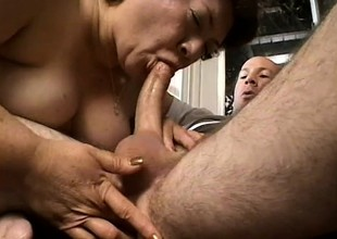 Chubby old momma Bertha gets her loose pussy pounded in older scene