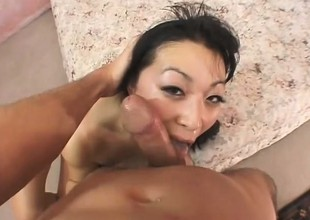 Shy Oriental cutie with pigtails sucks a dong and gets fucked unfathomable in POV