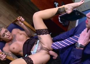 Blonde with a sexy face is getting rammed by a dick in the office