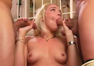 A valuable girl get fucked by two men in every hole.