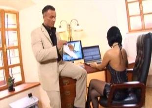 Secretary office sex in fishnet