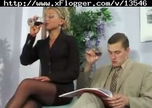 Office golden-haired lady in cute underware