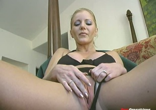 Constantly horny solo slut with fake big scones using a massive marital-device