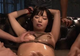Fishnet wearing Japanese termagant gets used correspondent to a slut
