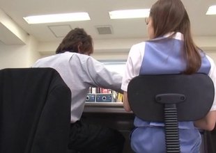 Japanese bitch in hose gets fucked in the office