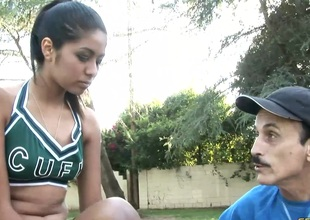 Cheerleader and a dirty old man with a big wang have sex