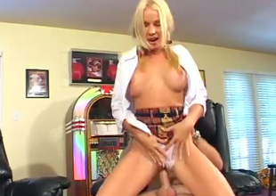 Eye catching bright pigtailed blonde cowgirl rides dick and gets analfucked