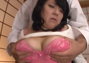 Married Japanese woman in a pearl necklace needs to fuck