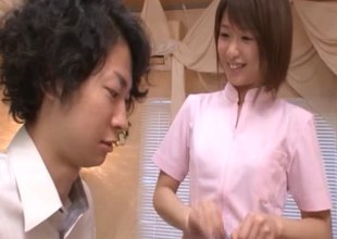 Skinny weenie stroking Japanese hotty climbs on top and rides it
