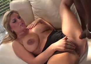 A huge black dick doesn't scare away this blonde trampe