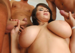 Brunette hair call-girl with large boobs Kristi nailed hard in gang bang