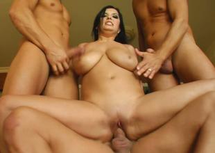 Nasty brunette lady Jasmine B fucks three horny males