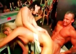 Nymphos fucked by strippers to hand fuckfest