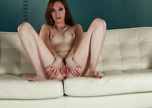 Aria Amor with small tities and clean slit strips down to her bare skin and then masturbates for camera