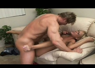 Sexy young chick Naomi Voyage enjoys a round of hardcore dick riding