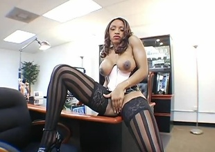 Avana Angel is in utter bad-ass mode, for this hardcore 29 minute 2 on 1.  Avana's a thin ebony stack of dynamite, with nice big tits, and beauty covering every inch of her body.  Brian Pumper and Lexington Steele watch her showing off in classy hose
