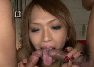 This Asian chick is the kind of old bag who loves giving blowjobs