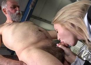 Horny old fucker enjoys sex with youthful hottie