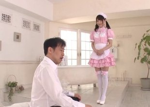 Obeying Japanese maid needs to sexually pleasure her boss