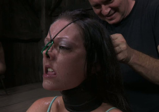 Wicked minded vassalage master puts his powerless slave in shackles