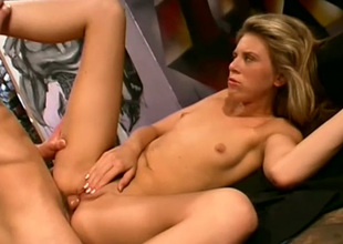 Titless blond haired bitch desires to be analfucked really hard