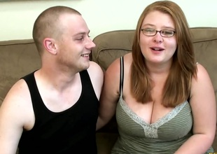 A chubby chick's tits jiggle as that babe grinds on his wang