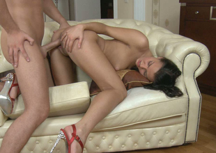 Dear dark brown sweetie with good looking body gets drilled well