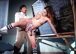Horny schoolgirl takes her uniform off