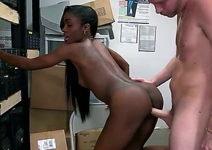 Skinny black girl gets her constricted muff drilled by white 10-Pounder before she gets down on her knees and takes it in her mouth. They have unforgettable interracial sex in the back room.