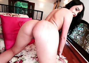 Dianna Dee with large booty has fire in her take aim as she strokes her fuck buddys sturdy wang