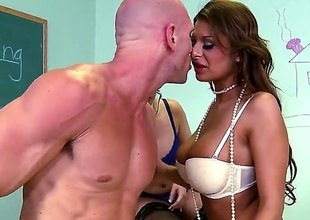 Allison Star with phat bottom loves getting her face drilled by Johnny Sins