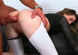 Skinny MILF campo top and bottomless white leggings implores for anal after cock sucking, She gives hot oral-service and then gets her butt drilled from behind. Nice clothed sex with easy lady!